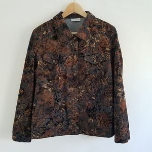 Vintage Brown Gray Velvet Floral Denim Jacket  M